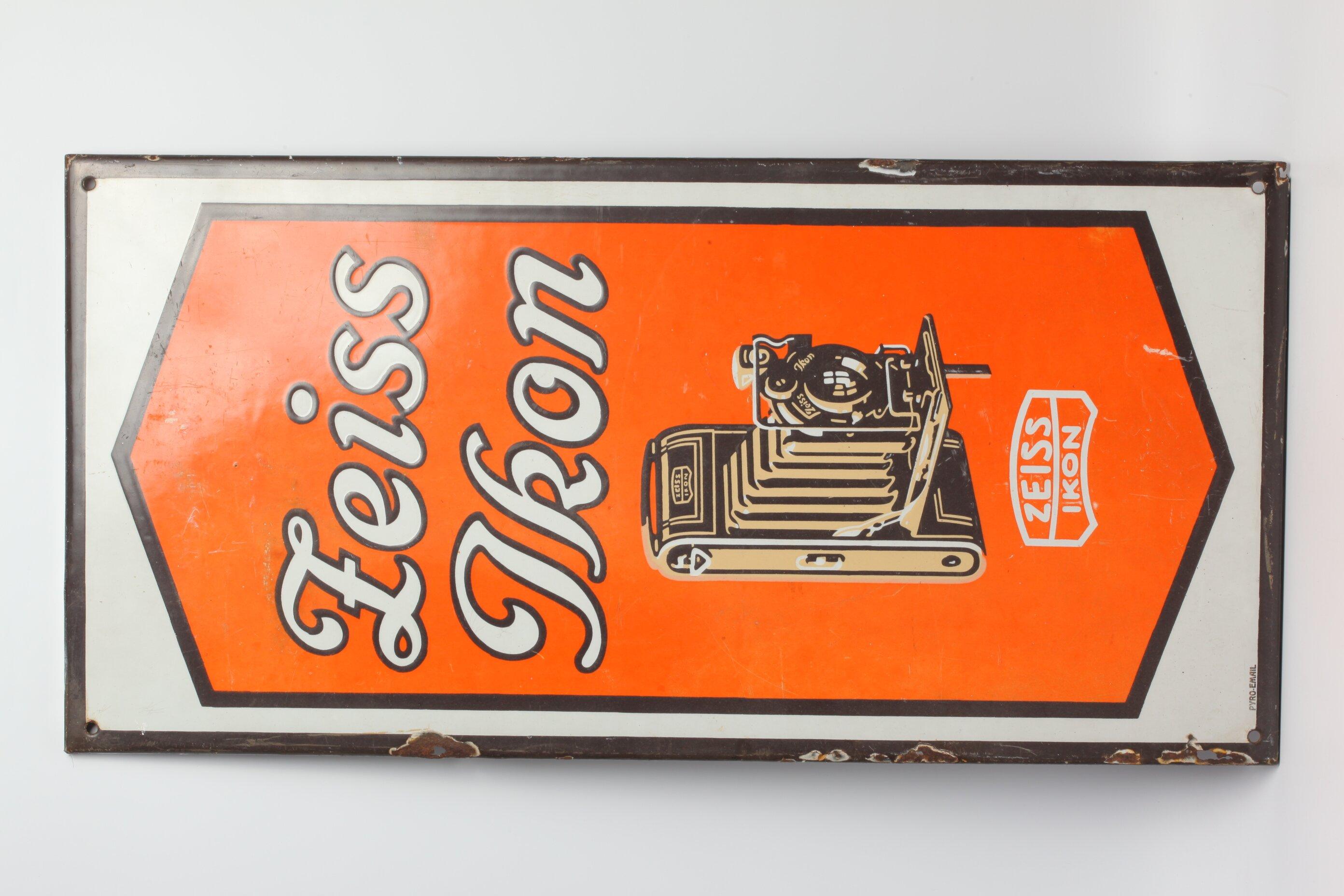 Zeiss Ikon Werbeschild Kamera viereckig Blech