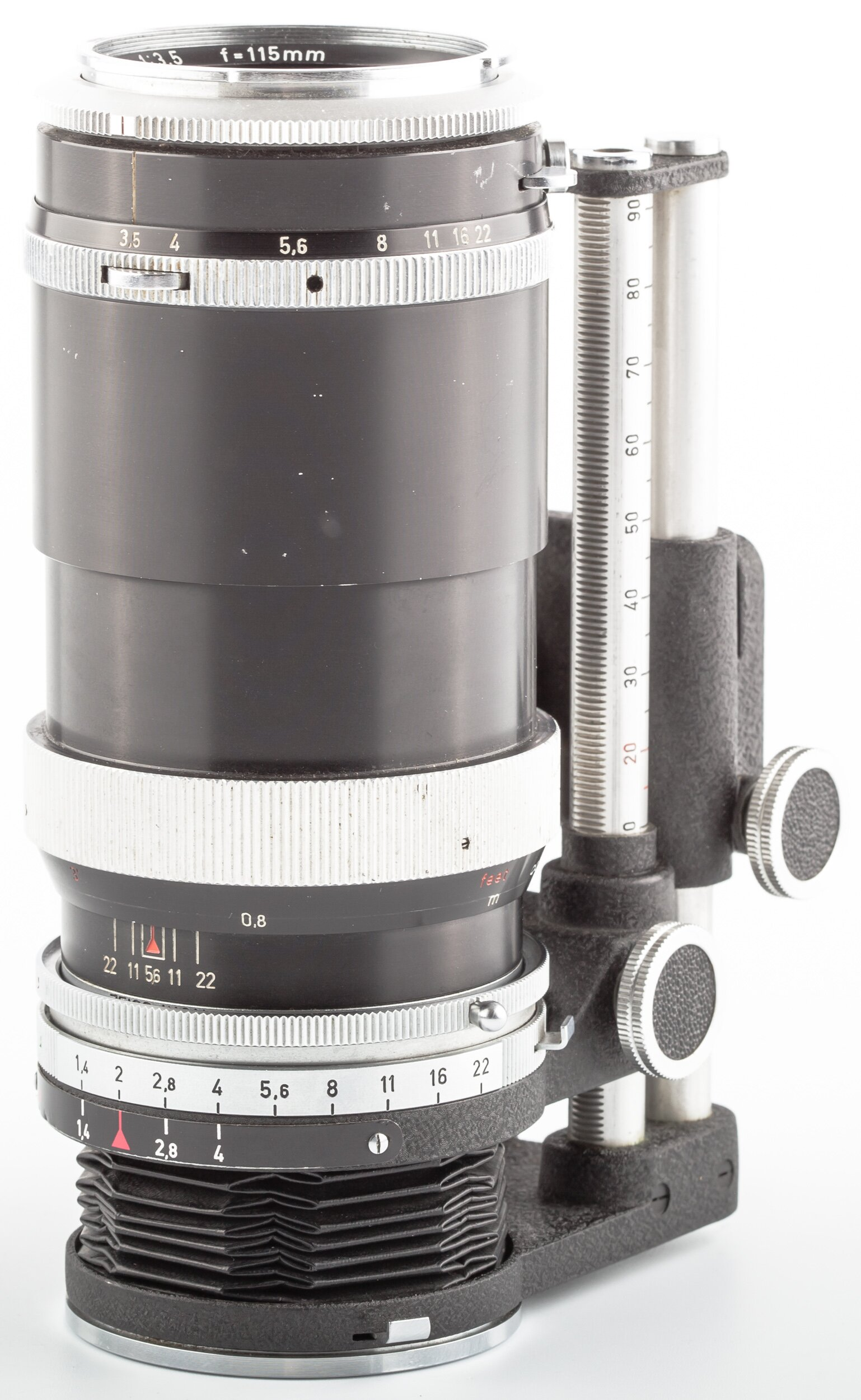 Carl Zeiss Objektiv Tessar 3,5/115 mm mit Balgengerät Contarex
