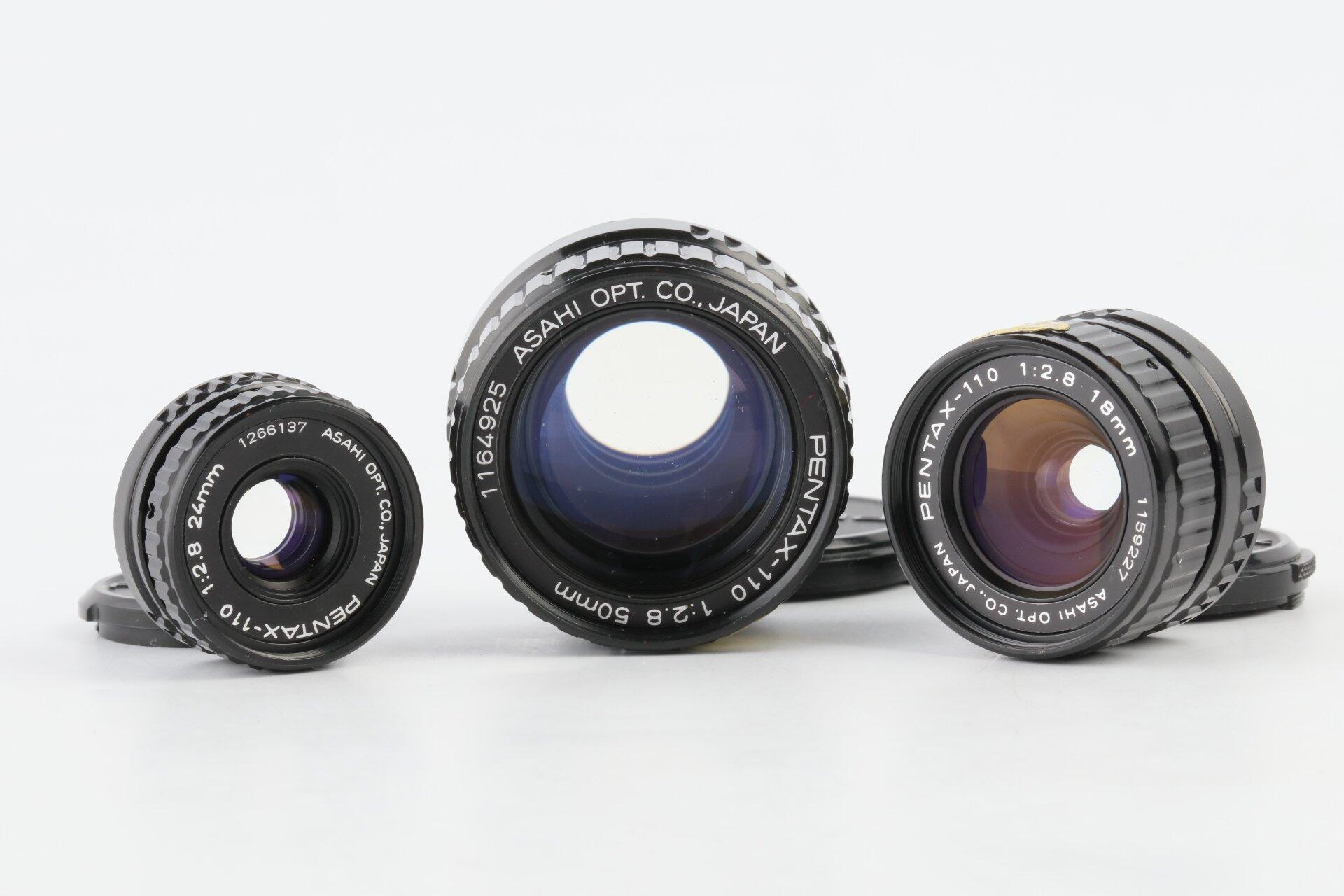 Pentax-110 Objektive 18mm, 24mm, 50mm 2,8